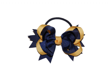 Pony Big Bow - Navy/Gold